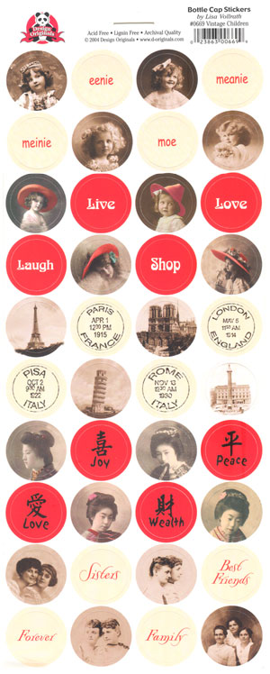 Design Originals Antique Vintage Children Bottle Cap Stickers