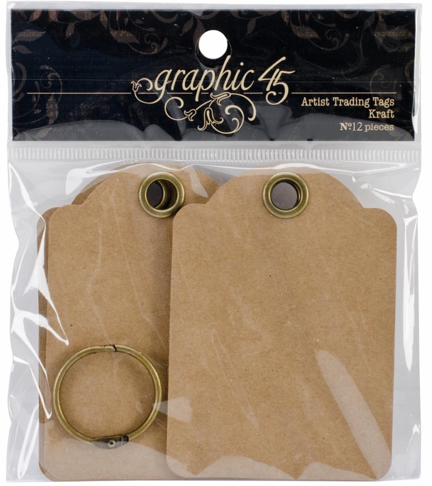 Graphic 45 Staples Artist Trading Tags Kraft ATCs - 12/pkg.