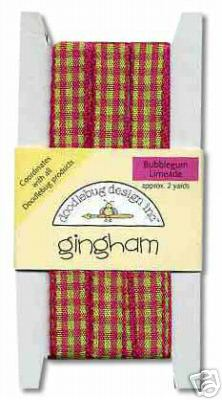 Doodlebug Designs Plaid Gingham Ribbon - Fuchsia & Lime Green