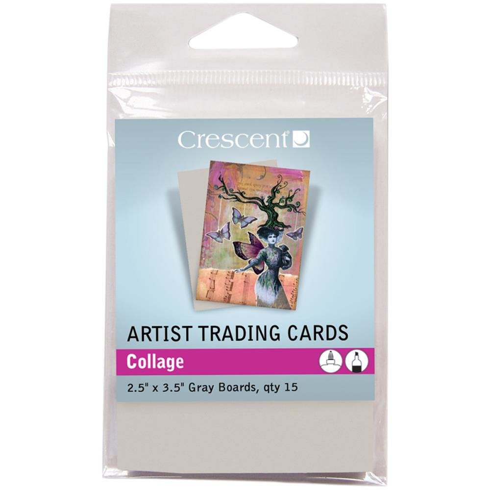 Crescent Artist Trading Card Collage Gray Boards 15/pk
