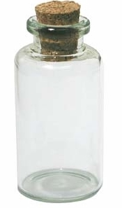 Glass Vial Bottle Empty Clear Jar 1 9/16 in. x 3/4 in. with Cork