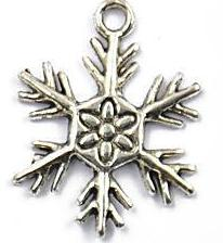 Snowflake Charm - 1 Inch Large Flower Center - Silver