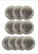 Paper Accents Bottle Caps - 10 Shiny Metallic Silver Bottle Caps