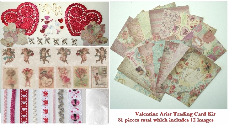 Artist Trading Card Kit - Large Vintage Valentine Kit