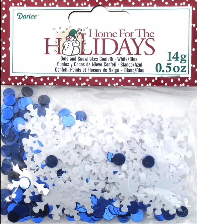 Darice Party Confetti Pack Holiday White Snowflake & Dots .5 oz.