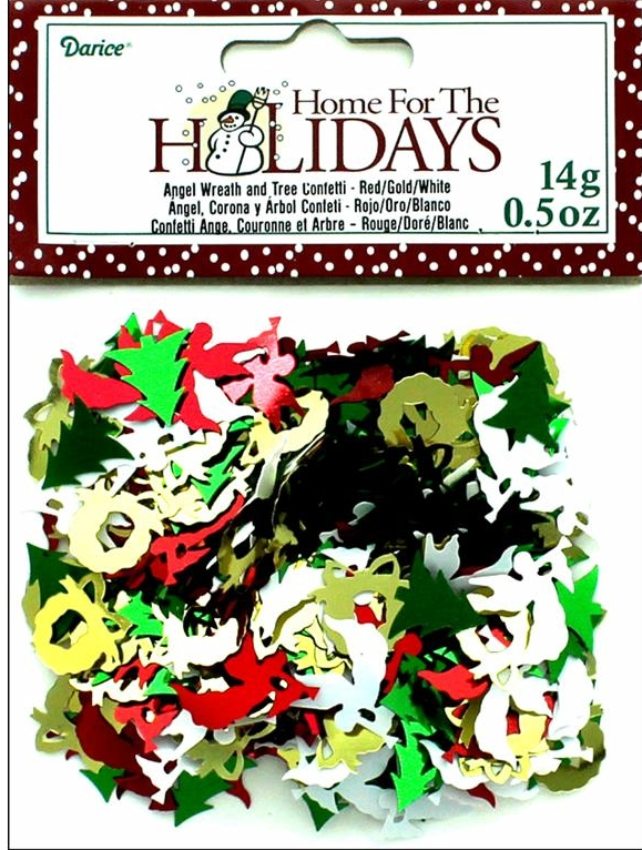 Darice Party Confetti Sequin Pack Holiday Angel/Wreath/Tree .5oz