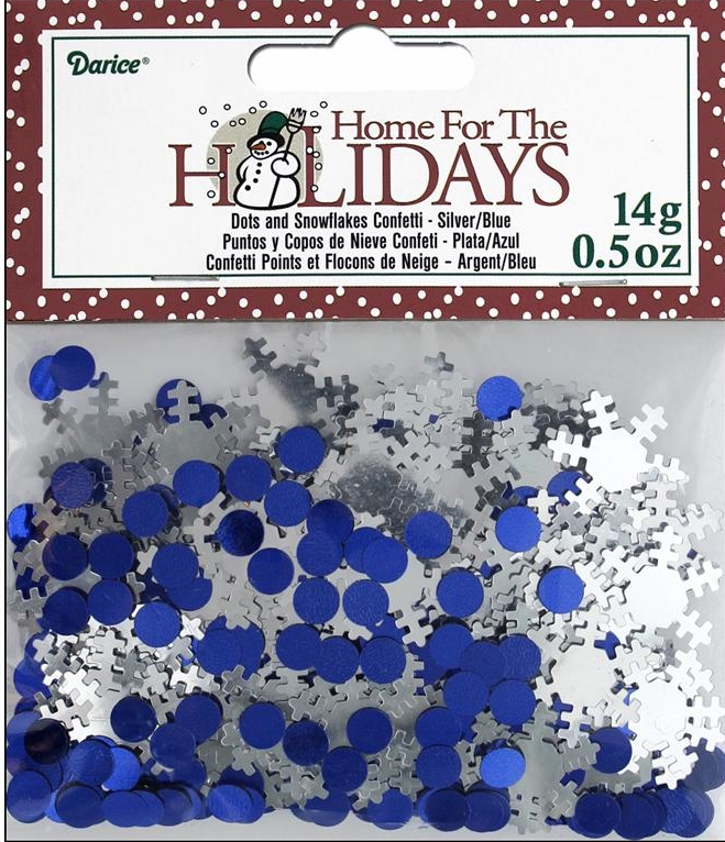Darice Party Holiday Confetti Pack Silver Snowflake & Dots .5 oz
