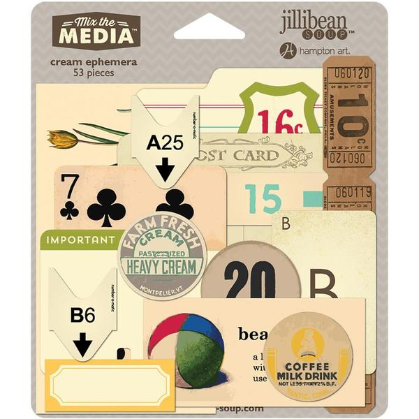Jillibean Soup Mix the Media Ephemera Collection - Cream