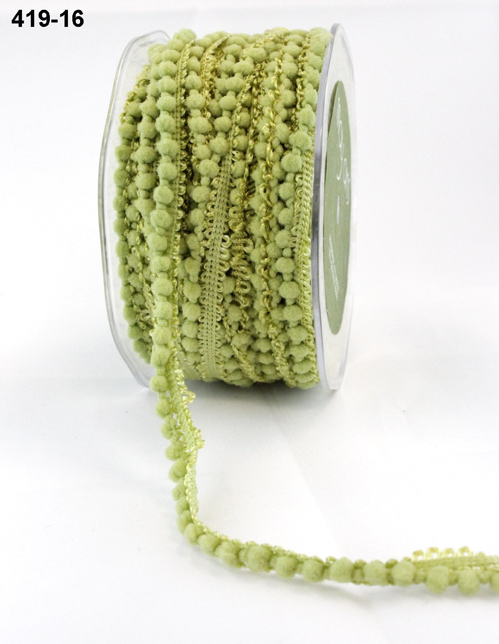May Arts Mini Pom Pom Ribbon Trim Fringe - Olive Green