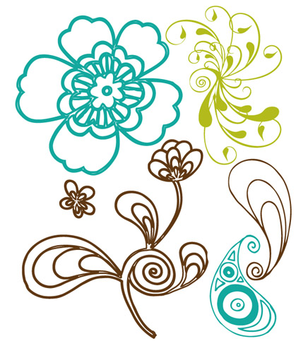Prima Marketing 2 1/2 x 3 Clear Stamp - 6 Paisley Road Stamps