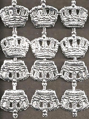 "German Foil (Dresden) Paper - 1/2"" Crowns - 12 Silver"