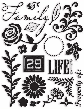 7 Gypsies Clear Acrylic Stamp Set - Pretoria - Floral Theme