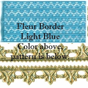 German Foil (Dresden) Paper/Scrap - Fleur Borders - Light Blue