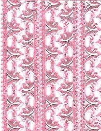German Foil (Dresden) Paper/Scrap - Fleur Borders - Pink