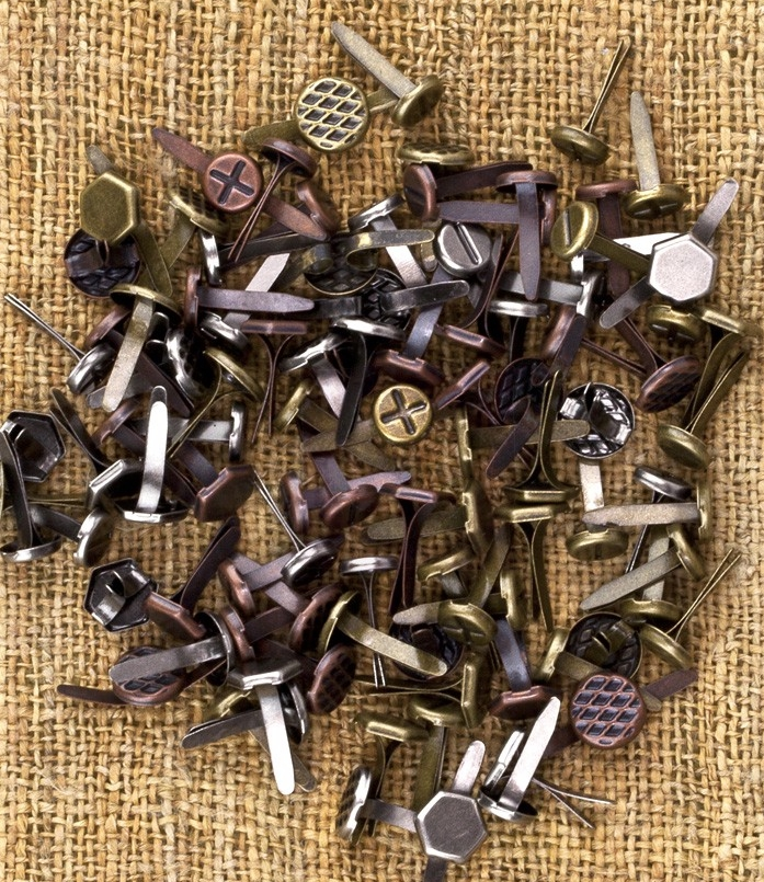 Prima Vintage Metal Mechanicals Mini Brads 100/pk Steampunk