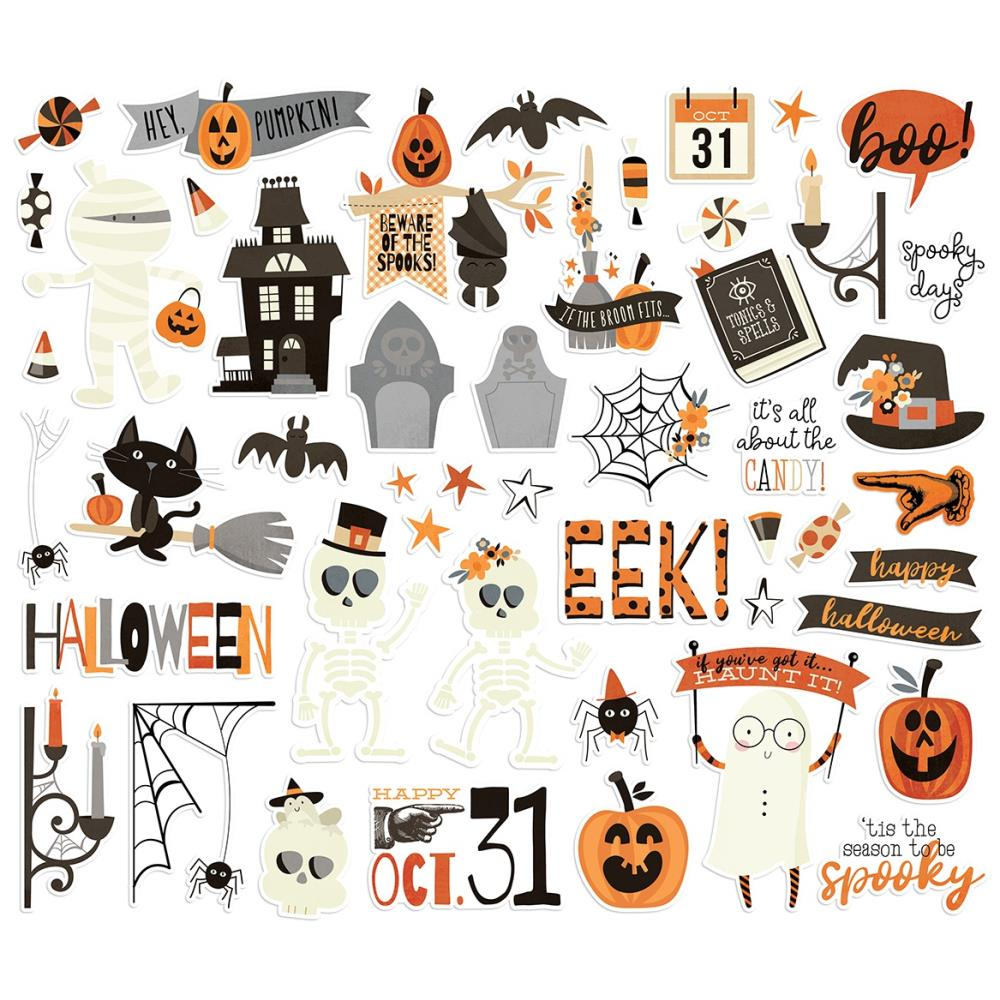 Simple Stories Halloween Boo Crew Ephemera Pieces - 49 Pcs.
