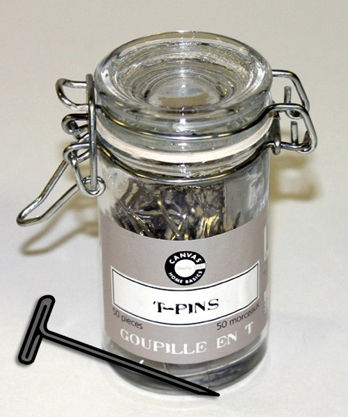 Canvas Corp. 50 Silver T-Pins in Glass Jar