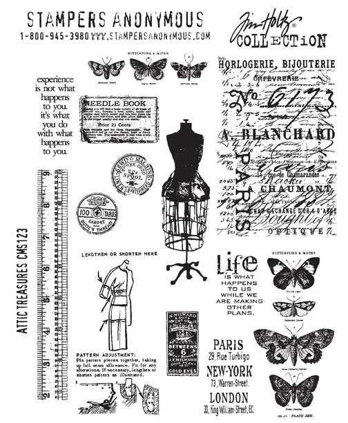 Stampers Anonymous' Tim Holtz Attic Treasures Stamp Set