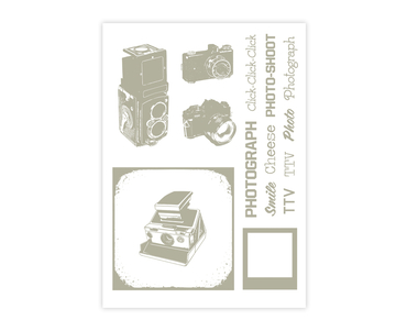 Studio Calico Rub-Ons - Gray Cameras