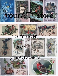 yourATCstore Christmas Birds 1 Collage Sheet