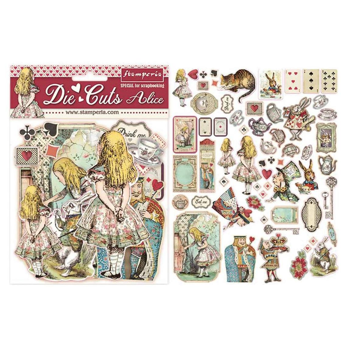 *NEW Stamperia Chipboard Alice in Wonderland Die Cuts - 62 Pcs.