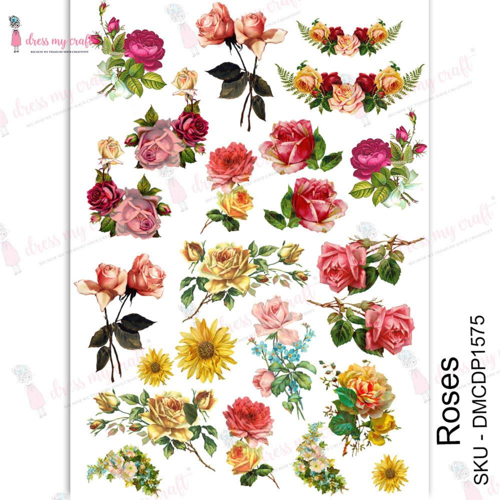 *NEW Dress My Craft Transfer Me Sheet - Roses, Water Slide Decal