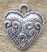 Heart - Silver with Swirls & Dot Design Charms