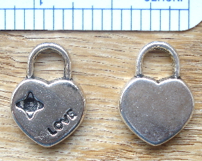 Key - Silver Heart Shaped Pad Lock with Love Charm