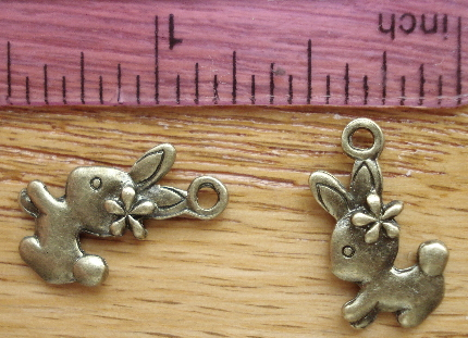 Easter Bunny Rabbit with Flower Charm - Bronze