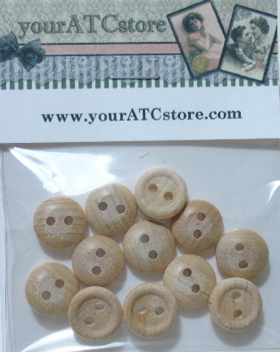 1/2 Inch Unfinished Wooden Buttons 12/pk.