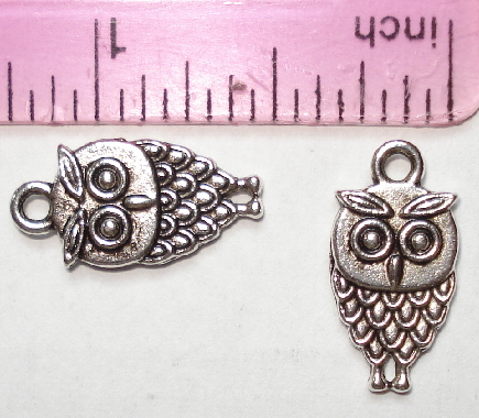 Owl - Silver Cute Detailed Owl Charm