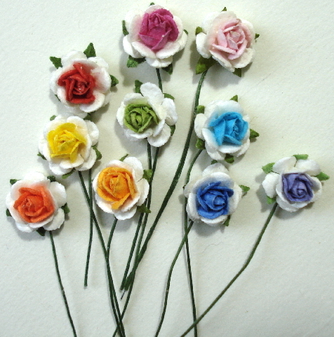 10 - Handmade Mulberry Paper Mini White Roses w/ Colored Centers