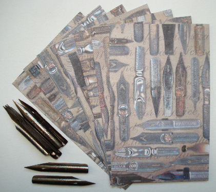12 Vintage E40 Eagle Steel Pen Nibs/Tips & 7 T.H. Cardstock ATCs