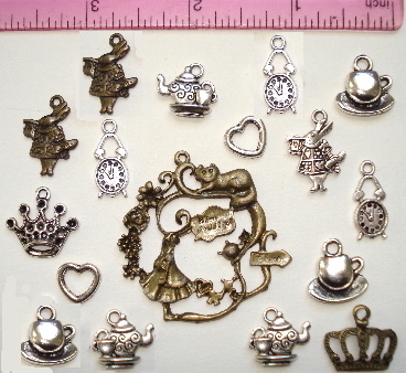 Alice in Wonderland Charms - 17 Charms per Set