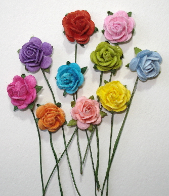 10 - Handmade Mulberry Paper Mini Mix Rainbow Roses