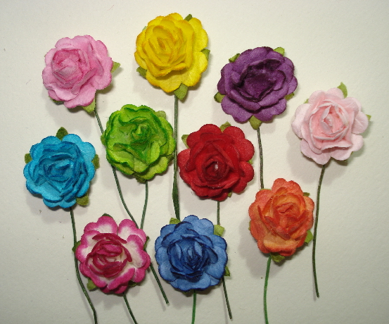 "10 - Handmade Mulberry Paper Mini Mix 3/4"" Roses Rainbow Colors"