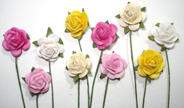 10 - Handmade Mulberry Paper Mini Mix Roses -  Pink/Yellow