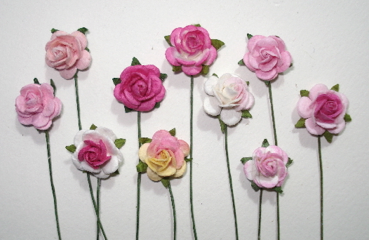 10 - Handmade Mulberry Paper Mini Mix Roses - Shades of Pink