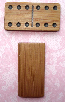 1 - Wooden Bamboo Domino for Altered Art 2 in. X 1 in.