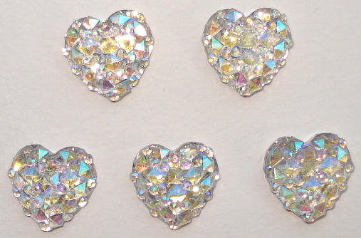 1/2 in. Aurore Boreale Mini Faceted Flatback Resin Hearts 5/pkg.