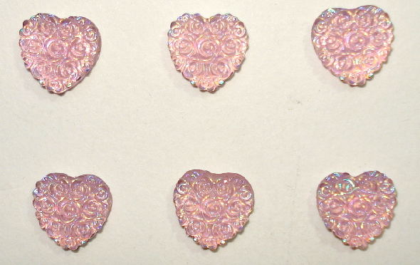 1/2 in. Aurore Boreale Mini Flatback Resin Pink Rosey Hearts - 6