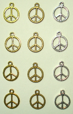 12 - Peace Sign Charms in 3 Finishes