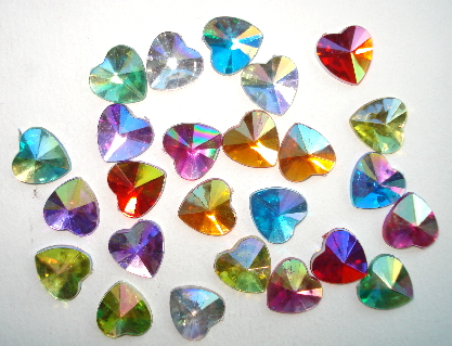 24 - Flatback Facited Heart Shaped Sparkle Gems