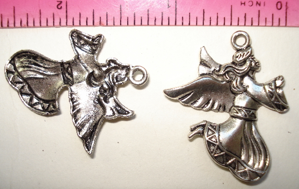 Christmas Angel Charm Silver - Large