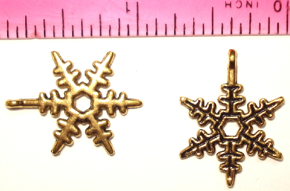 Snowflake Charm - Pointed - Antique Gold