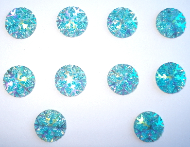 10 - 7/16 in. Round Aqua Blue Snowflake Flatback Resin Gems
