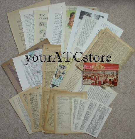 **NEW yourATCstore Vintage Ephemera Book Sheets & More