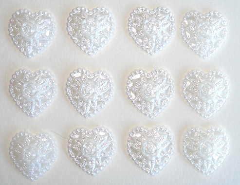 12 - White Pearl Resin Heart Shaped Flatback Charms