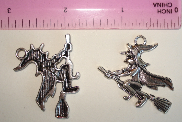 Halloween Large Silver Witch on Her Broom Charm