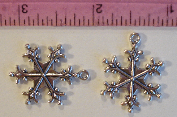 Snowflake Charm - 1 Inch Large - Silver